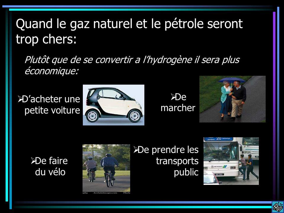 Quand le gaz naturel et le pétrole seront trop chers: Plutôt que de se convertir a lhydrogène il sera plus économique: Dacheter une petite voiture De marcher De faire du vélo De prendre les transports public