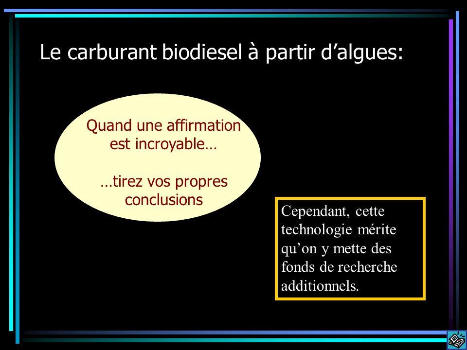 Le carburant biodiesel à partir dalgues: Quand une affirmation est incroyable… …tirez vos propres conclusions Cependant, cette technologie mérite quon y mette des fonds de recherche additionnels.