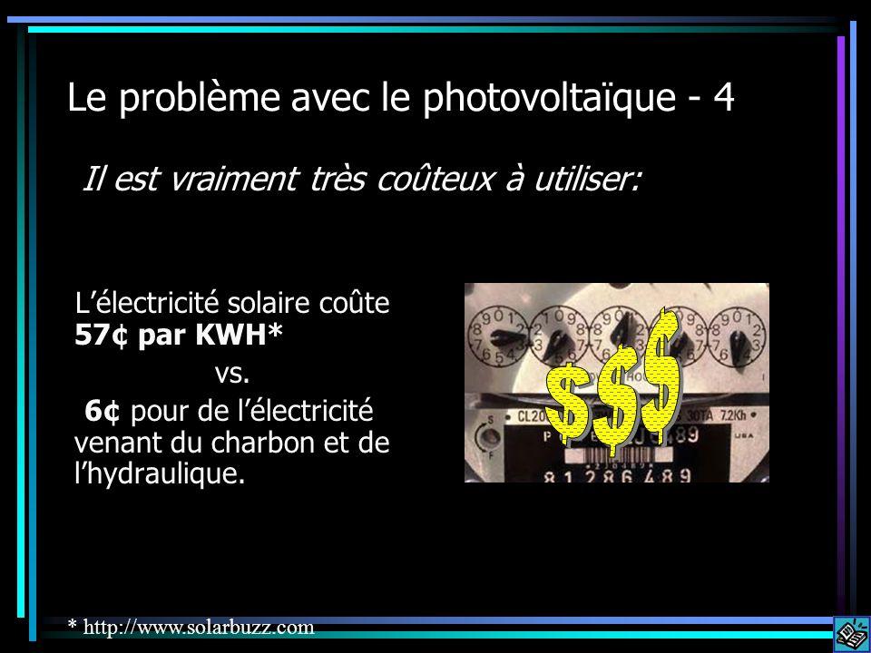 Le problème avec le photovoltaïque - 4 Lélectricité solaire coûte 57¢ par KWH* vs. 6¢ pour de lélectricité venant du charbon et de lhydraulique. Il es