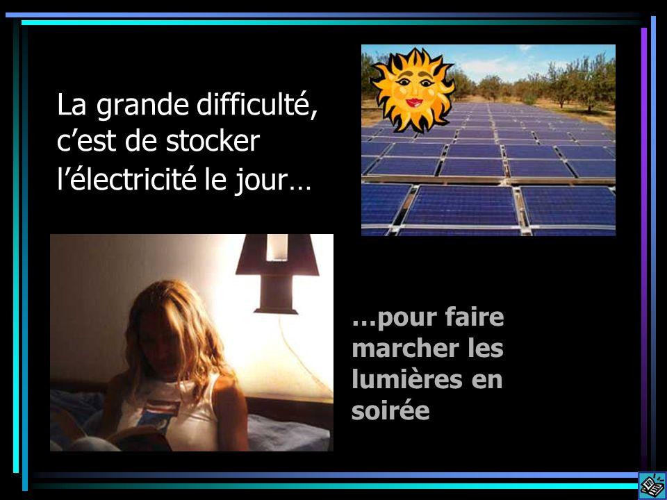 La grande difficulté, cest de stocker lélectricité le jour… …pour faire marcher les lumières en soirée