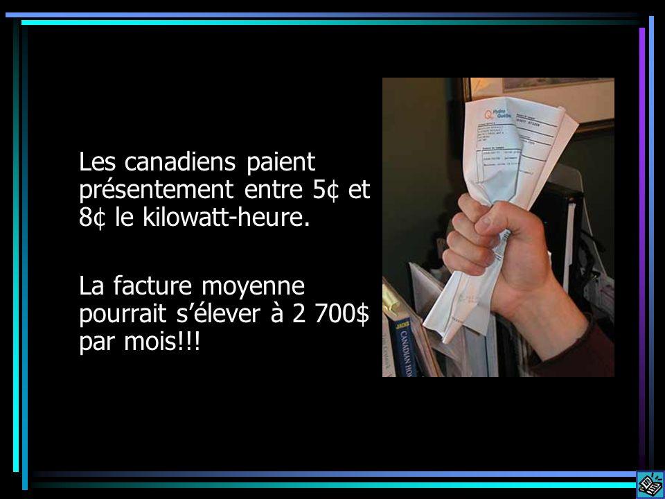 Les canadiens paient présentement entre 5¢ et 8¢ le kilowatt-heure. La facture moyenne pourrait sélever à 2 700$ par mois!!!