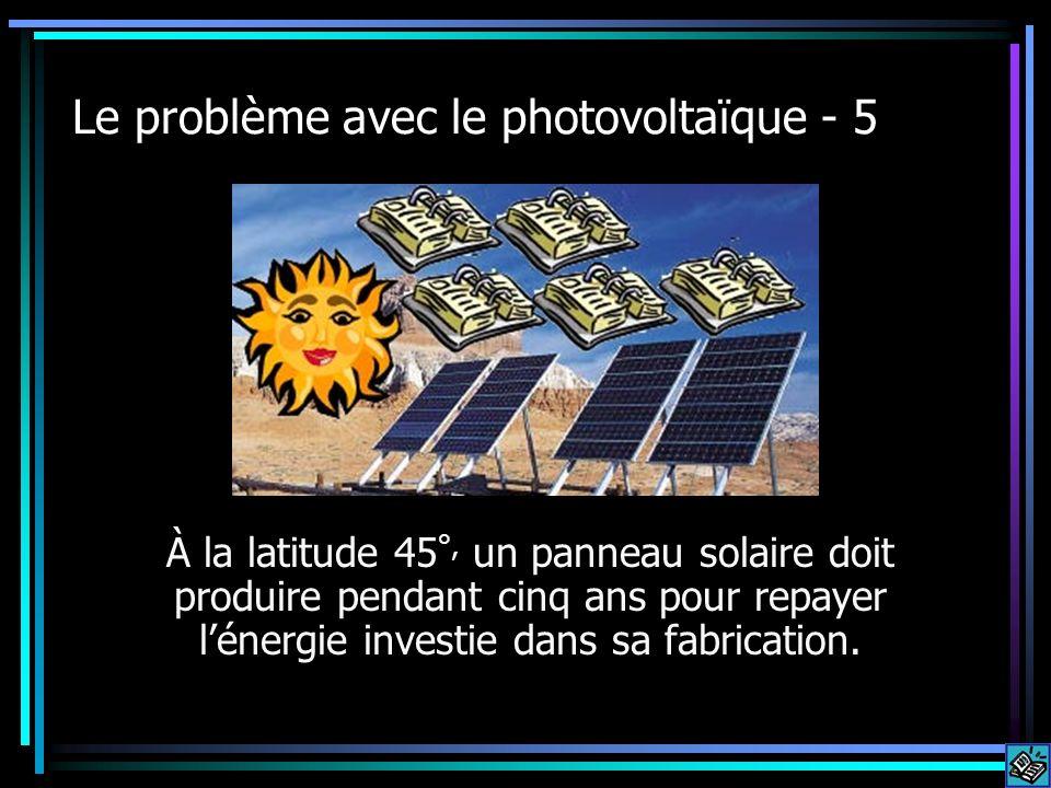 Le problème avec le photovoltaïque - 5 À la latitude 45 °, un panneau solaire doit produire pendant cinq ans pour repayer lénergie investie dans sa fabrication.