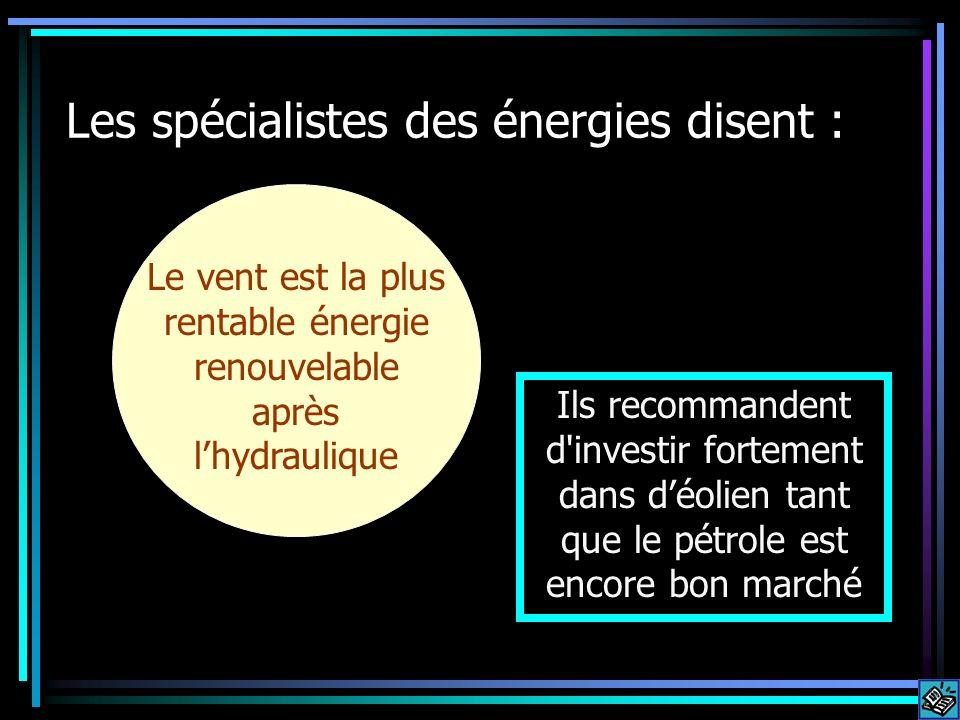 Les spécialistes des énergies disent : Le vent est la plus rentable énergie renouvelable après lhydraulique Ils recommandent d investir fortement dans déolien tant que le pétrole est encore bon marché