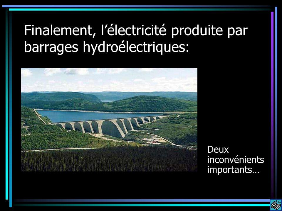 Finalement, lélectricité produite par barrages hydroélectriques: Deux inconvénients importants…