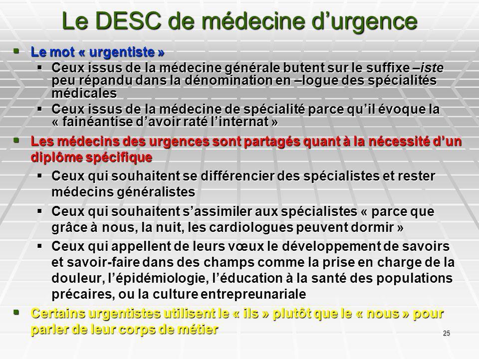 25 Le DESC de médecine durgence Le mot « urgentiste » Le mot « urgentiste » Ceux issus de la médecine générale butent sur le suffixe –iste peu répandu