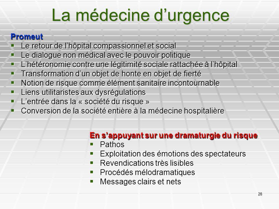 28 La médecine durgence Promeut Le retour de lhôpital compassionnel et social Le retour de lhôpital compassionnel et social Le dialogue non médical av