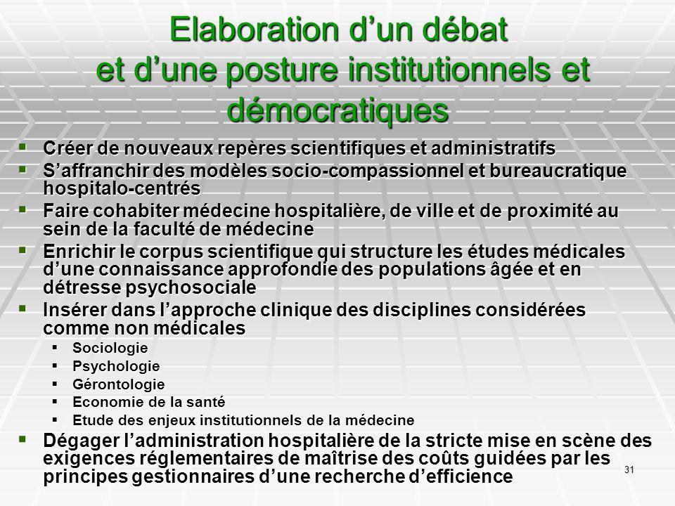 31 Elaboration dun débat et dune posture institutionnels et démocratiques Créer de nouveaux repères scientifiques et administratifs Créer de nouveaux
