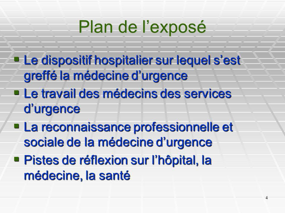 4 Plan de lexposé Le dispositif hospitalier sur lequel sest greffé la médecine durgence Le dispositif hospitalier sur lequel sest greffé la médecine d