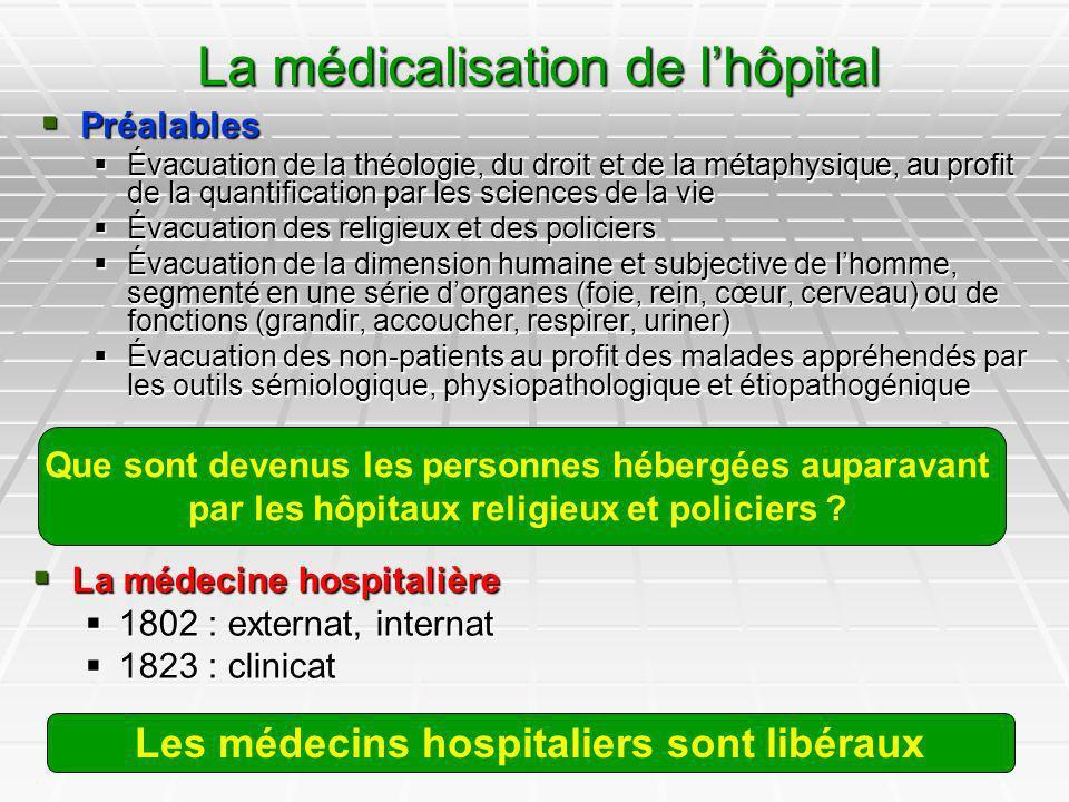 8 La médicalisation de lhôpital Préalables Préalables Évacuation de la théologie, du droit et de la métaphysique, au profit de la quantification par l