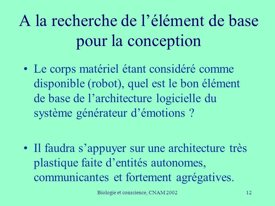 Biologie et conscience, CNAM 200212 A la recherche de lélément de base pour la conception Le corps matériel étant considéré comme disponible (robot),