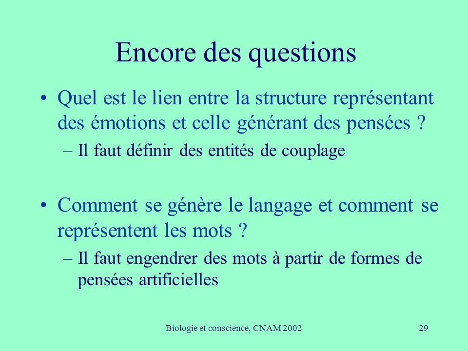 Biologie et conscience, CNAM 200229 Encore des questions Quel est le lien entre la structure représentant des émotions et celle générant des pensées ?
