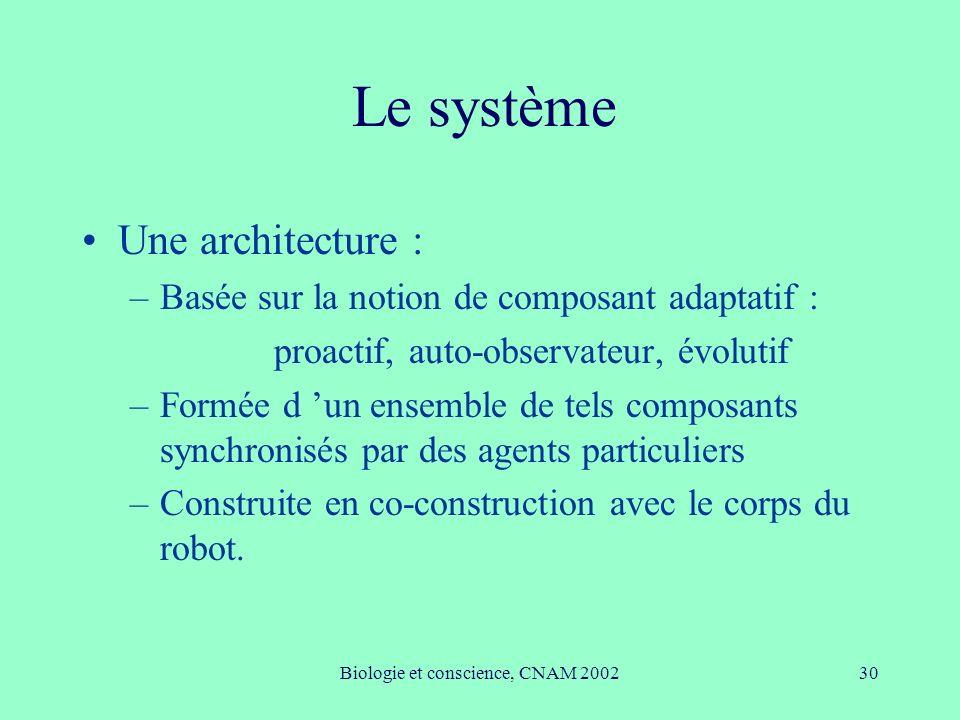Biologie et conscience, CNAM 200230 Le système Une architecture : –Basée sur la notion de composant adaptatif : proactif, auto-observateur, évolutif –