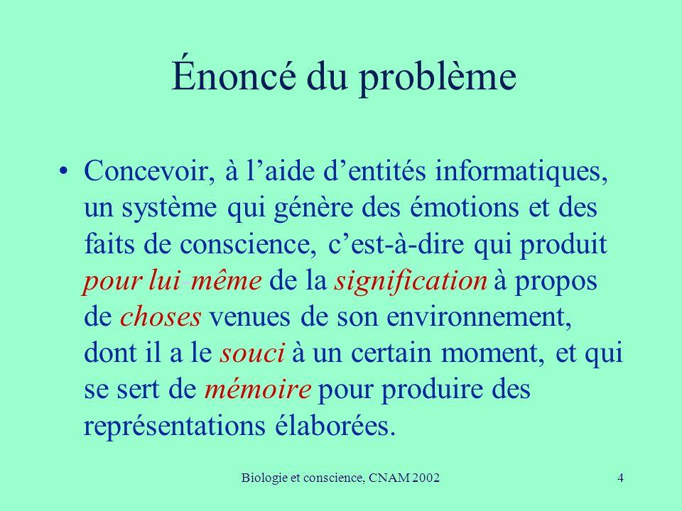 Biologie et conscience, CNAM 200235 Conclusion Travail typiquement pluridisciplinaire.