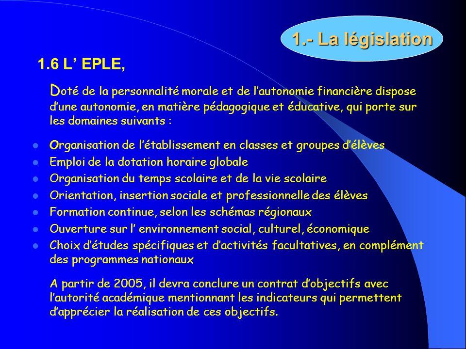 1.6 L EPLE, D oté de la personnalité morale et de lautonomie financière dispose dune autonomie, en matière pédagogique et éducative, qui porte sur les