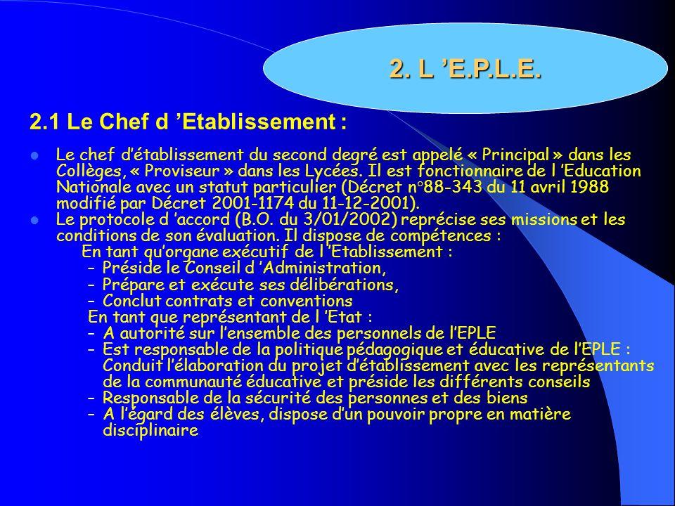 2.1 Le Chef d Etablissement : Le chef détablissement du second degré est appelé « Principal » dans les Collèges, « Proviseur » dans les Lycées. Il est