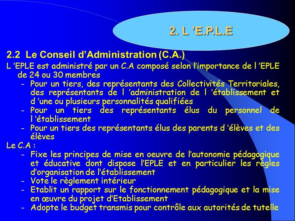 2.2 Le Conseil dAdministration (C.A.) L EPLE est administré par un C.A composé selon limportance de l EPLE de 24 ou 30 membres – Pour un tiers, des re
