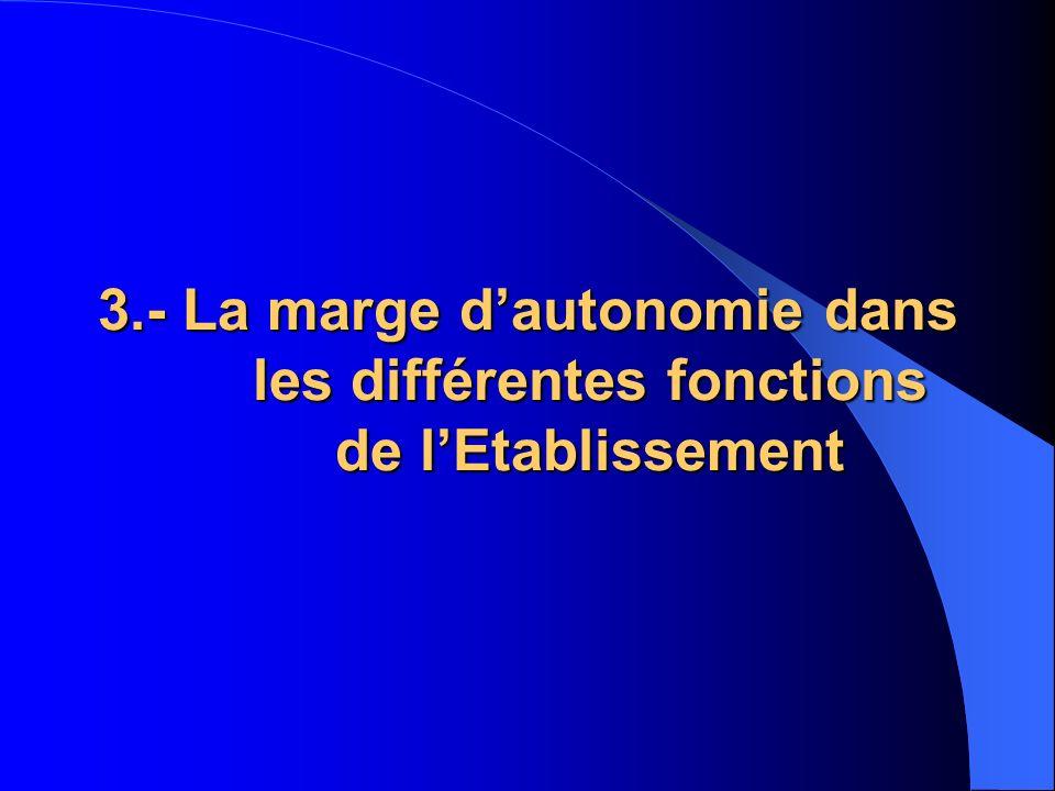 3.- La marge dautonomie dans les différentes fonctions de lEtablissement