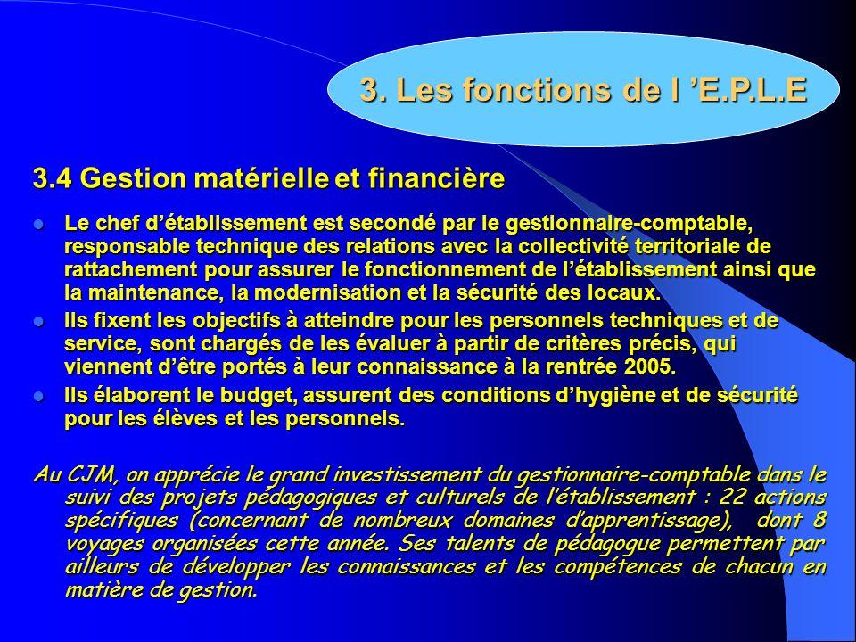 3.4 Gestion matérielle et financière Le chef détablissement est secondé par le gestionnaire-comptable, responsable technique des relations avec la col