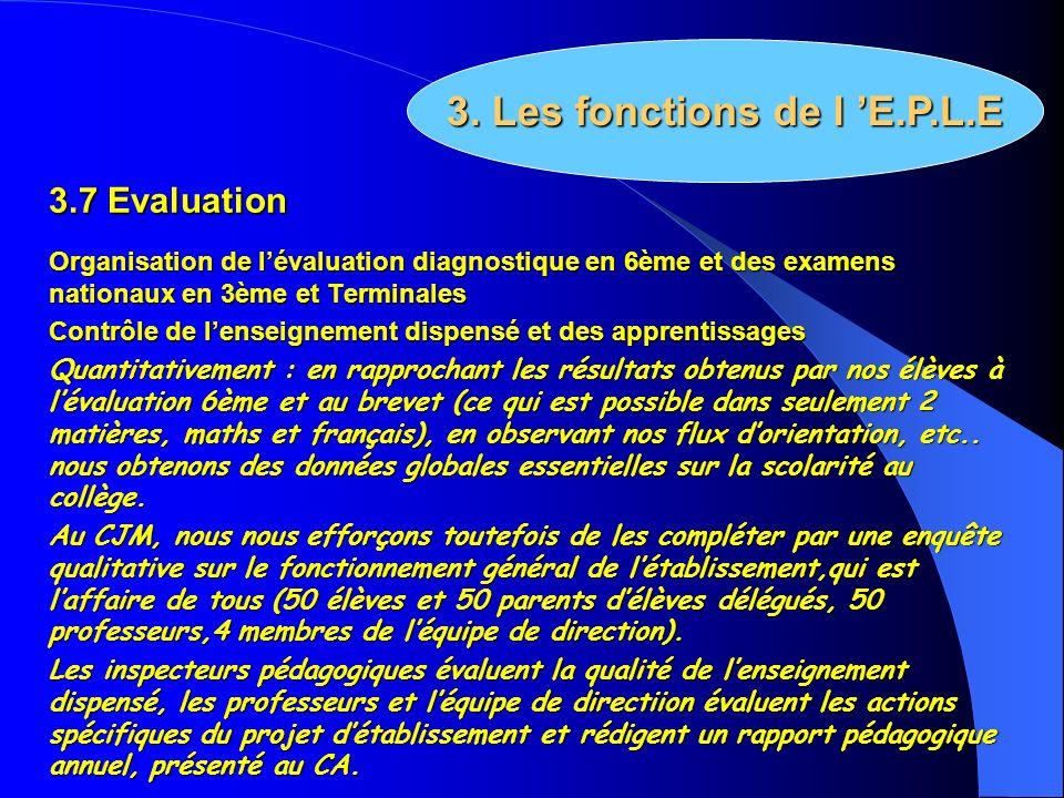 3.7 Evaluation Organisation de lévaluation diagnostique en 6ème et des examens nationaux en 3ème et Terminales Contrôle de lenseignement dispensé et d