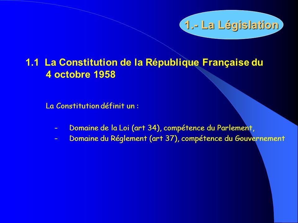 1.1 La Constitution de la République Française du 4 octobre 1958 La Constitution définit un : – Domaine de la Loi (art 34), compétence du Parlement, –