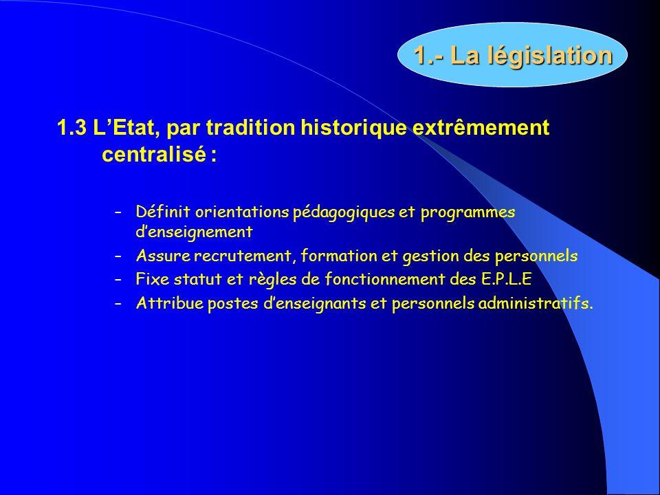 1.3 LEtat, par tradition historique extrêmement centralisé : – Définit orientations pédagogiques et programmes denseignement – Assure recrutement, for