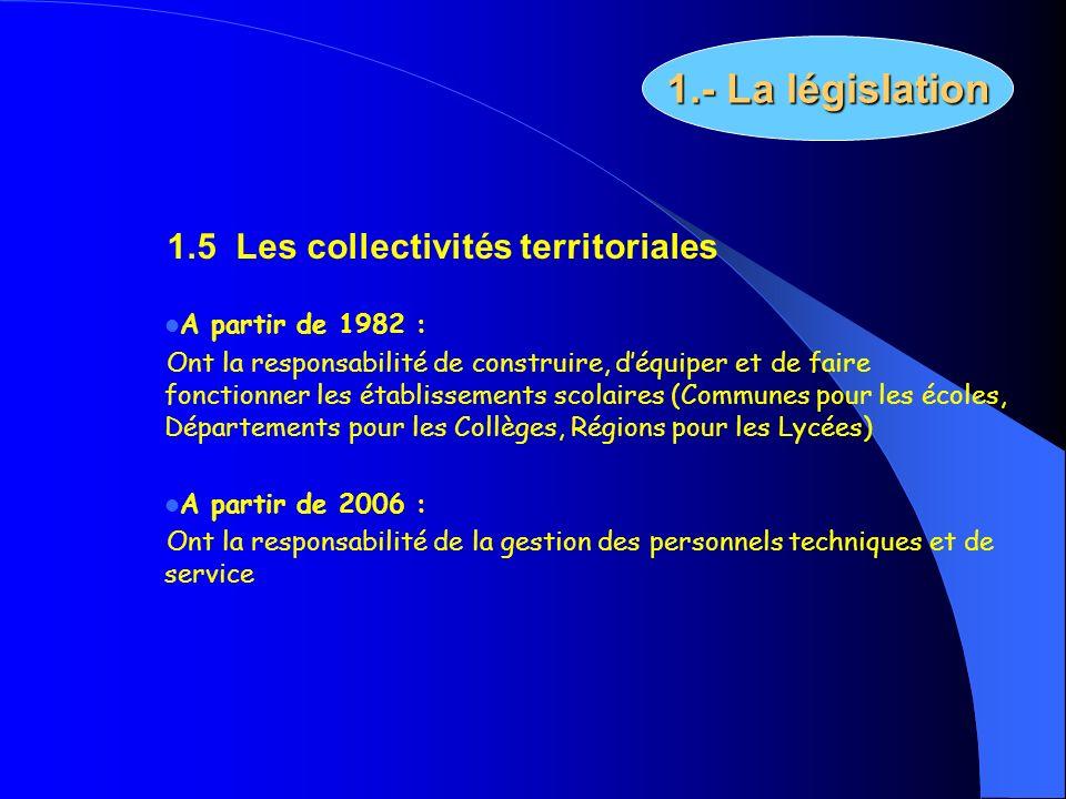 1.5 Les collectivités territoriales A partir de 1982 : Ont la responsabilité de construire, déquiper et de faire fonctionner les établissements scolai