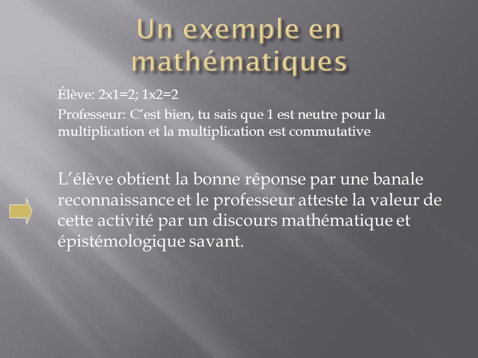 Élève: 2x1=2; 1x2=2 Professeur: Cest bien, tu sais que 1 est neutre pour la multiplication et la multiplication est commutative Lélève obtient la bonn