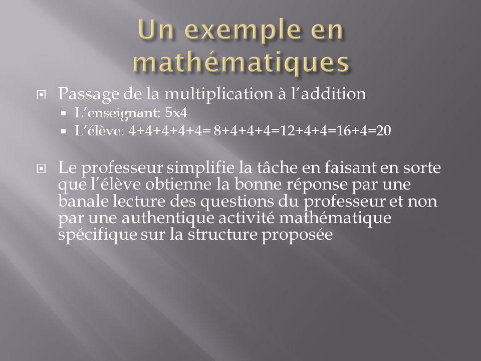Passage de la multiplication à laddition Lenseignant: 5x4 Lélève: 4+4+4+4+4= 8+4+4+4=12+4+4=16+4=20 Le professeur simplifie la tâche en faisant en sor