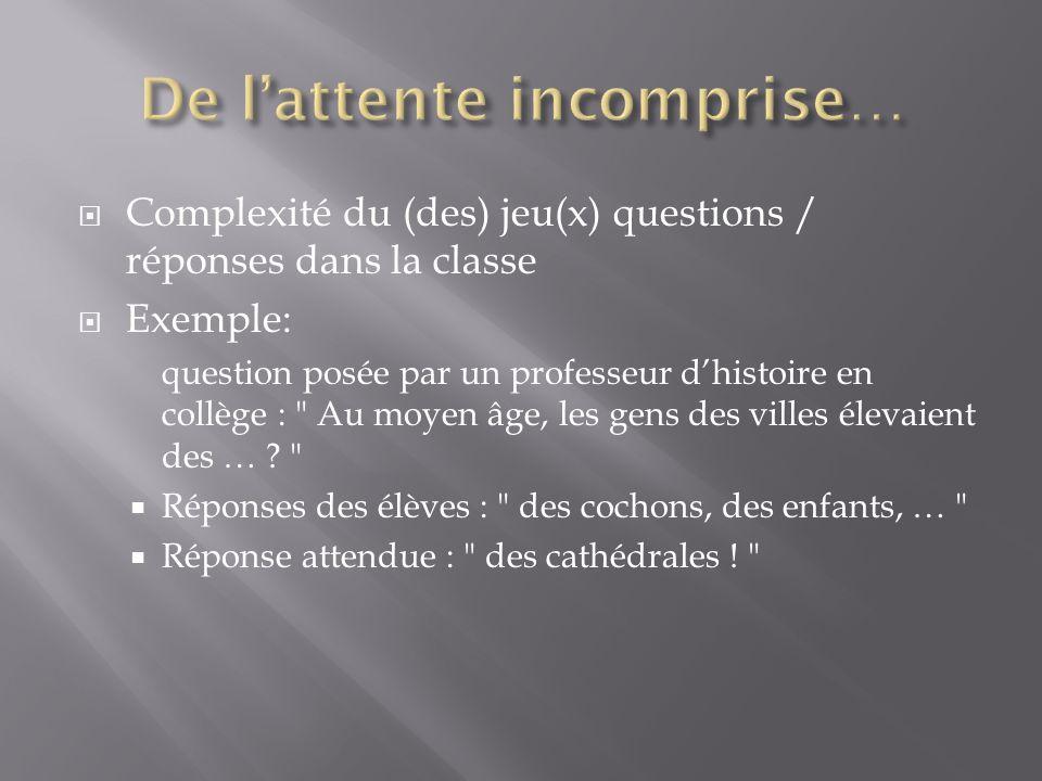 Complexité du (des) jeu(x) questions / réponses dans la classe Exemple: question posée par un professeur dhistoire en collège :