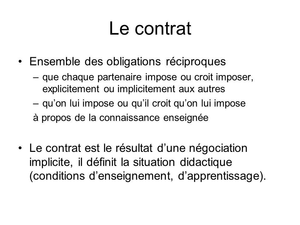 Le contrat Ensemble des obligations réciproques –que chaque partenaire impose ou croit imposer, explicitement ou implicitement aux autres –quon lui im