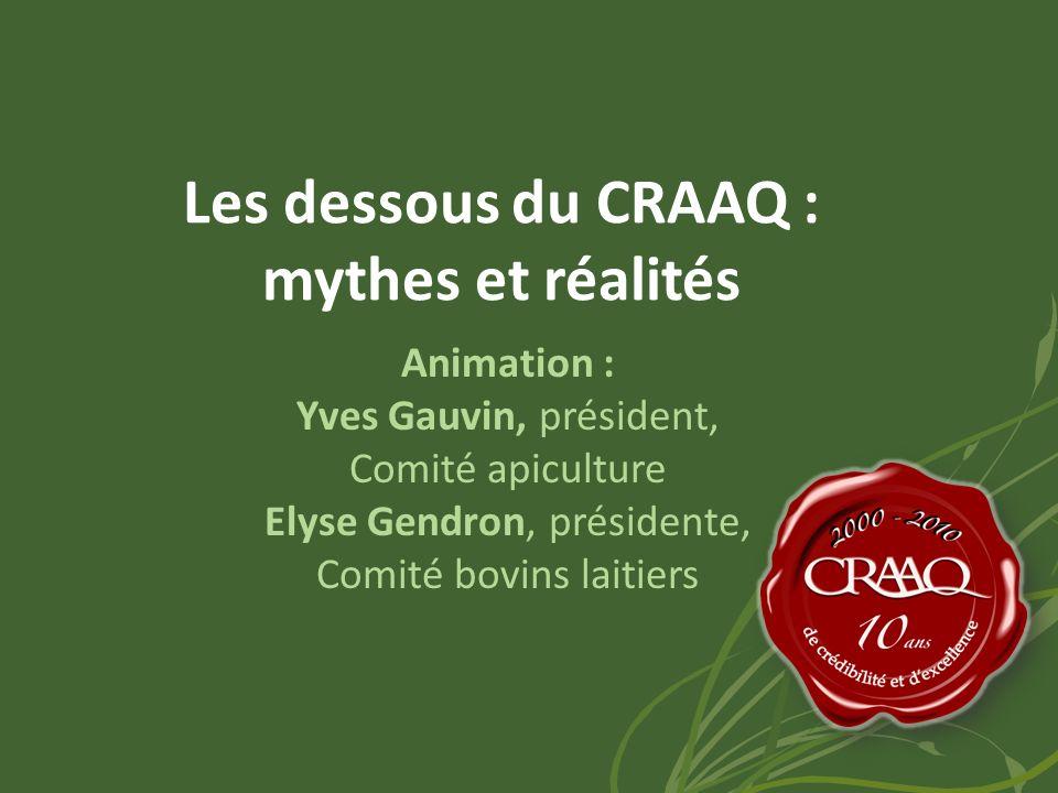 Les dessous du CRAAQ : mythes et réalités Animation : Yves Gauvin, président, Comité apiculture Elyse Gendron, présidente, Comité bovins laitiers