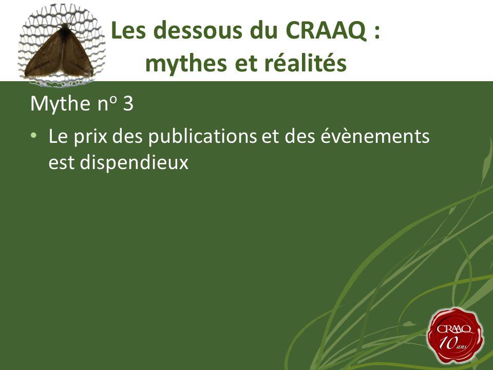 Mythe n o 3 Le prix des publications et des évènements est dispendieux Les dessous du CRAAQ : mythes et réalités