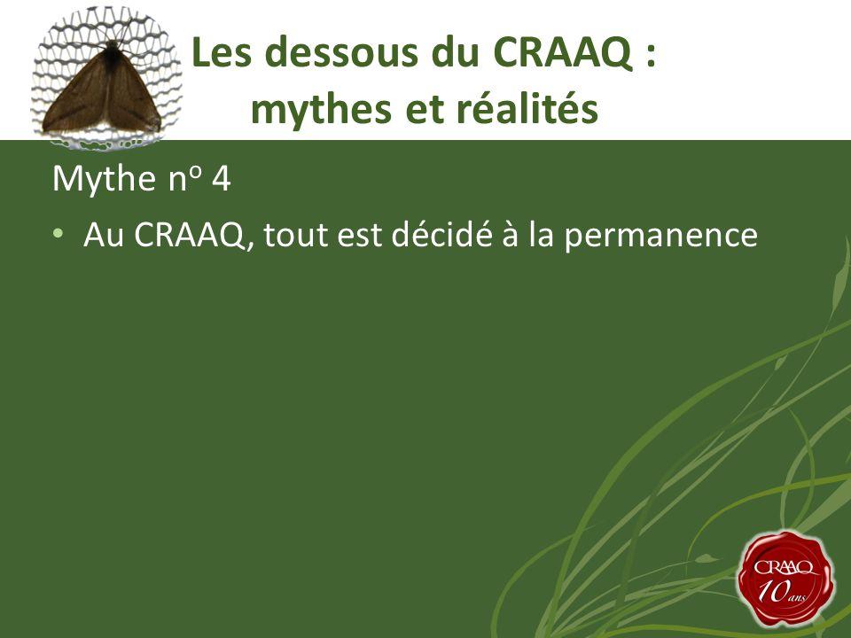 Mythe n o 4 Au CRAAQ, tout est décidé à la permanence Les dessous du CRAAQ : mythes et réalités