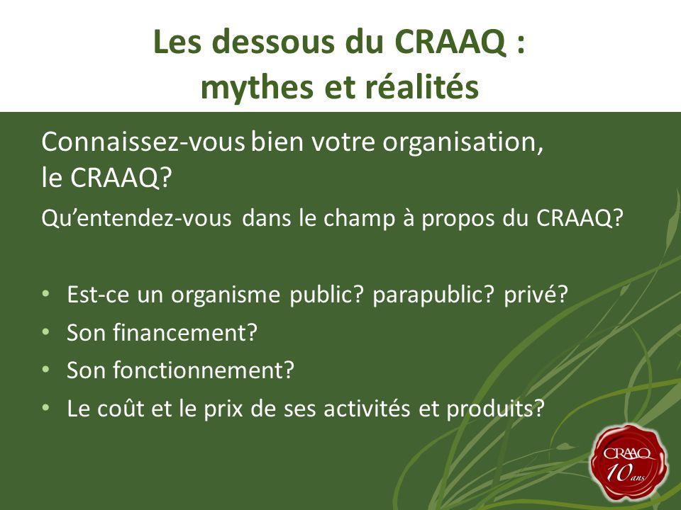 Connaissez-vous bien votre organisation, le CRAAQ.