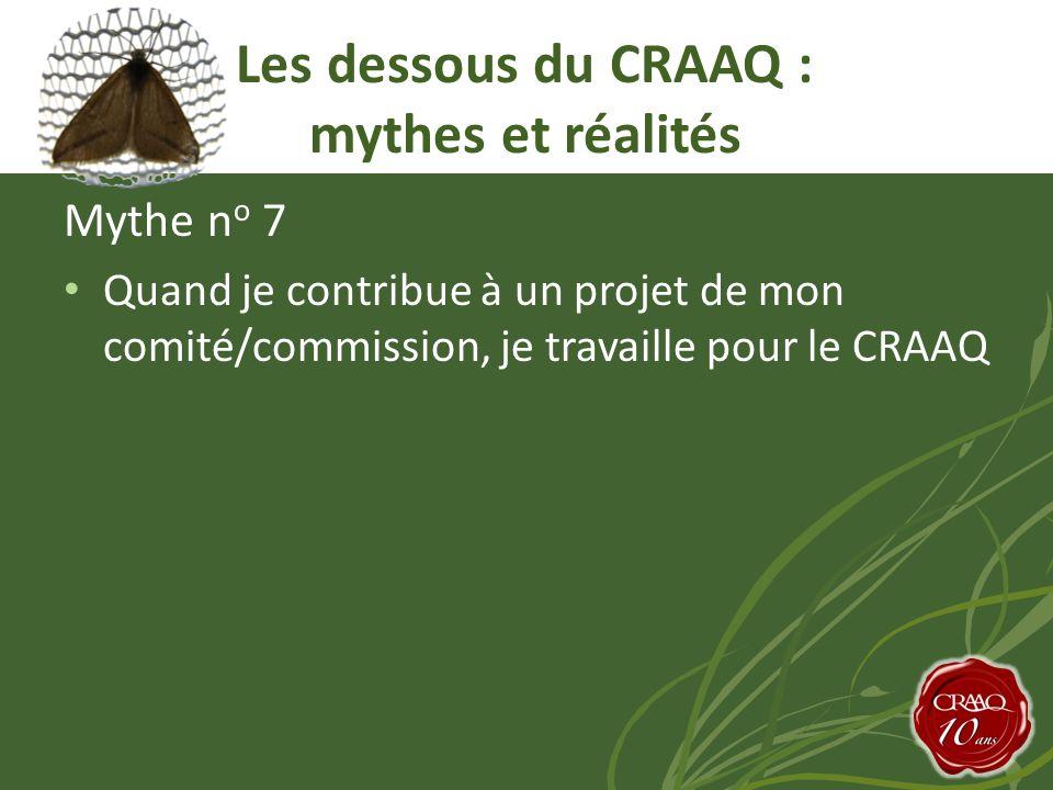 Mythe n o 7 Quand je contribue à un projet de mon comité/commission, je travaille pour le CRAAQ Les dessous du CRAAQ : mythes et réalités