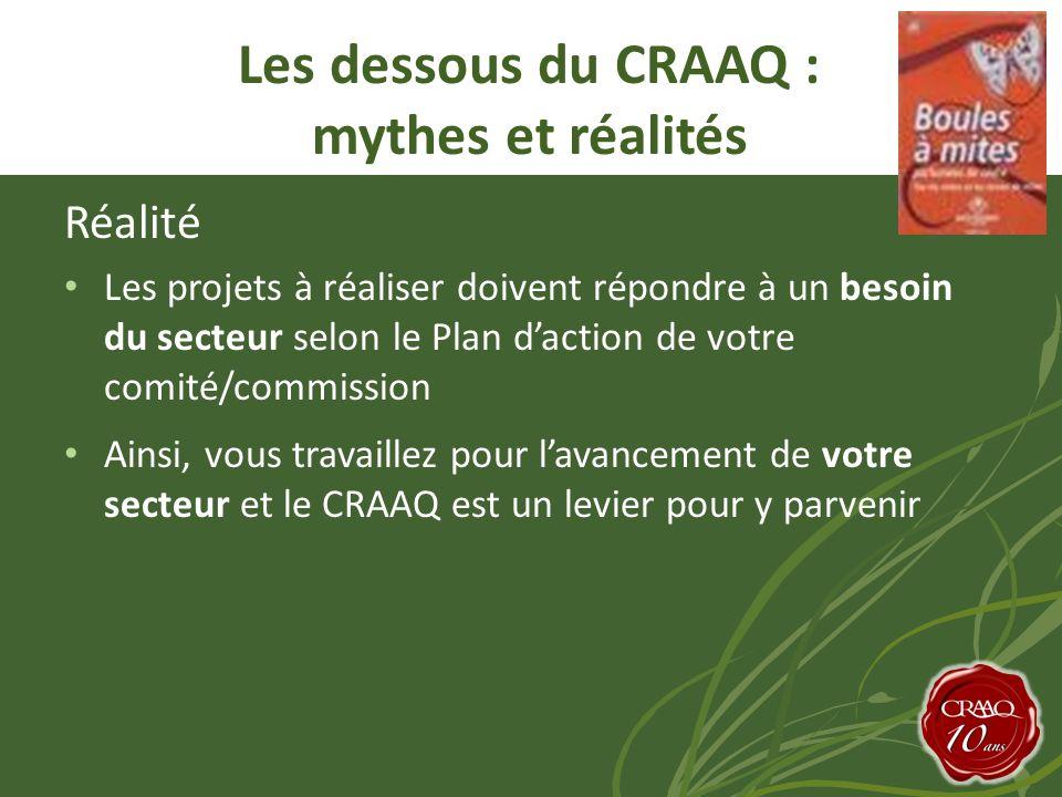 Réalité Les projets à réaliser doivent répondre à un besoin du secteur selon le Plan daction de votre comité/commission Ainsi, vous travaillez pour lavancement de votre secteur et le CRAAQ est un levier pour y parvenir Les dessous du CRAAQ : mythes et réalités
