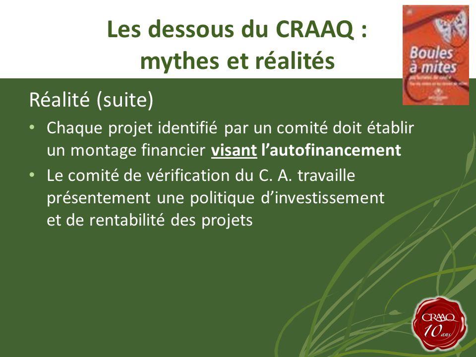 Réalité (suite) Chaque projet identifié par un comité doit établir un montage financier visant lautofinancement Le comité de vérification du C.