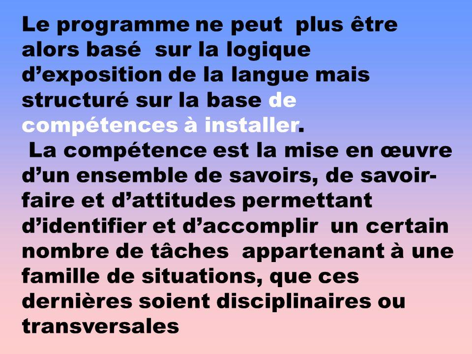 Le programme ne peut plus être alors basé sur la logique dexposition de la langue mais structuré sur la base de compétences à installer. La compétence