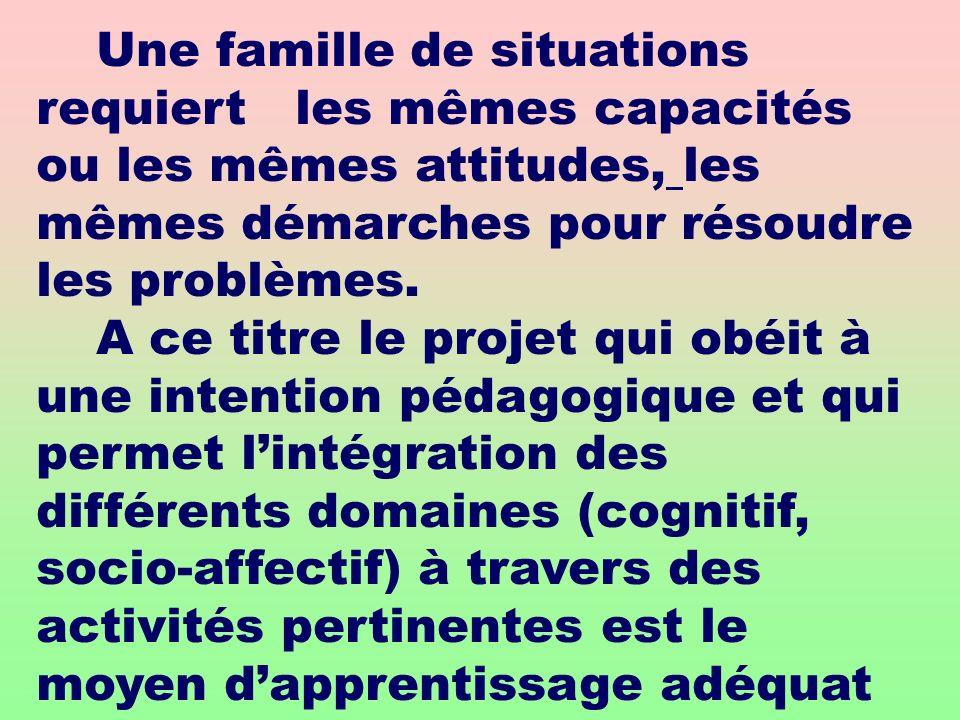 Une famille de situations requiert les mêmes capacités ou les mêmes attitudes, les mêmes démarches pour résoudre les problèmes. A ce titre le projet q