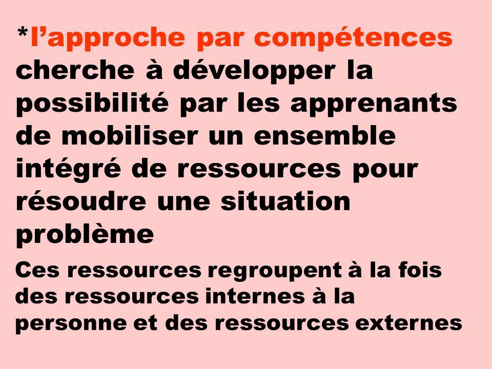 *lapproche par compétences cherche à développer la possibilité par les apprenants de mobiliser un ensemble intégré de ressources pour résoudre une sit