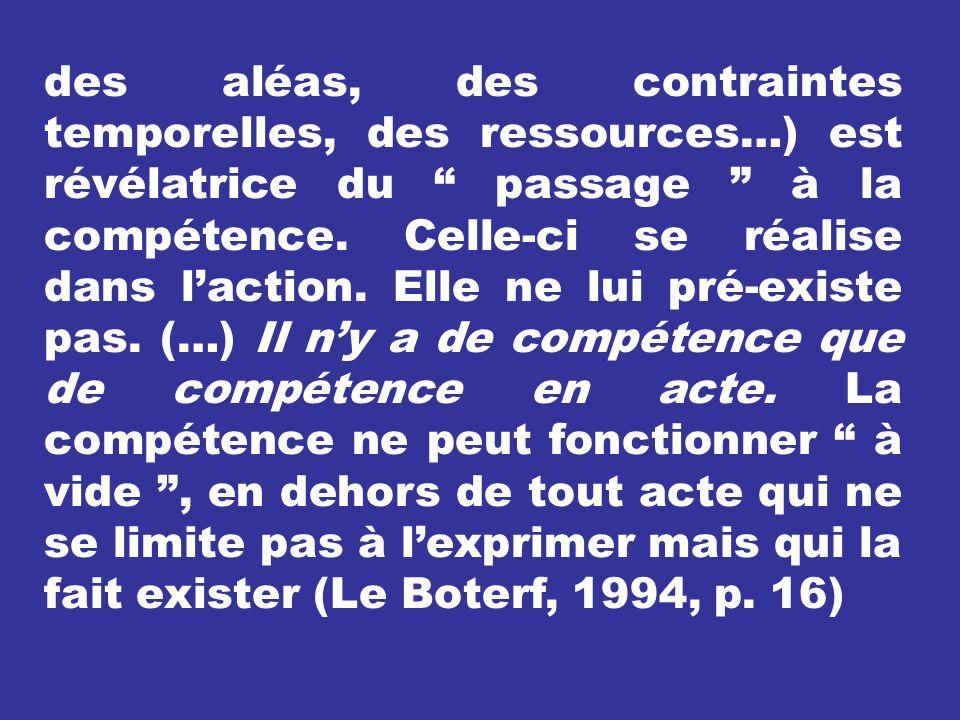des aléas, des contraintes temporelles, des ressources…) est révélatrice du passage à la compétence. Celle-ci se réalise dans laction. Elle ne lui pré