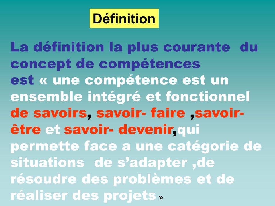 La définition la plus courante du concept de compétences est « une compétence est un ensemble intégré et fonctionnel de savoirs, savoir- faire,savoir-