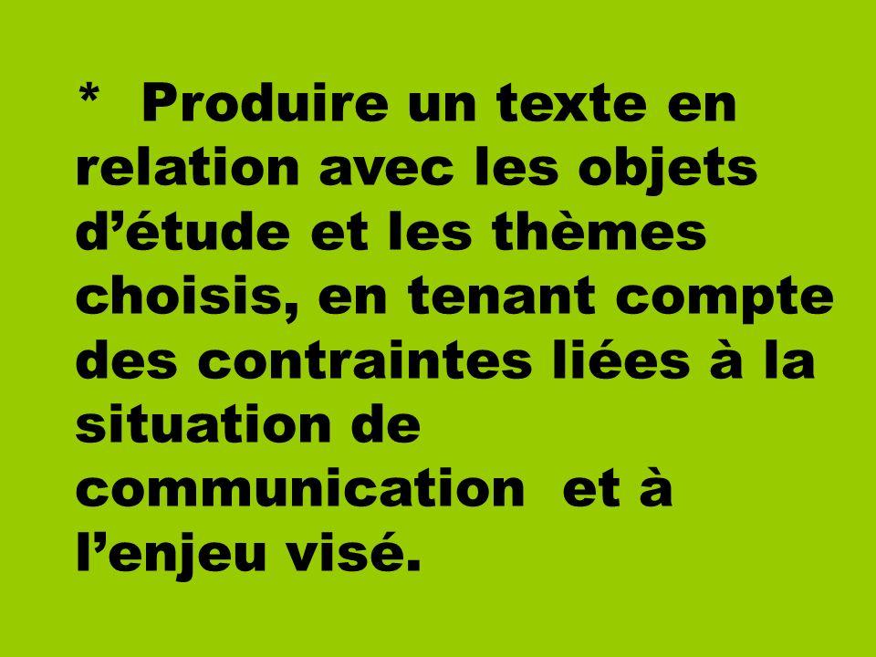 * Produire un texte en relation avec les objets détude et les thèmes choisis, en tenant compte des contraintes liées à la situation de communication e