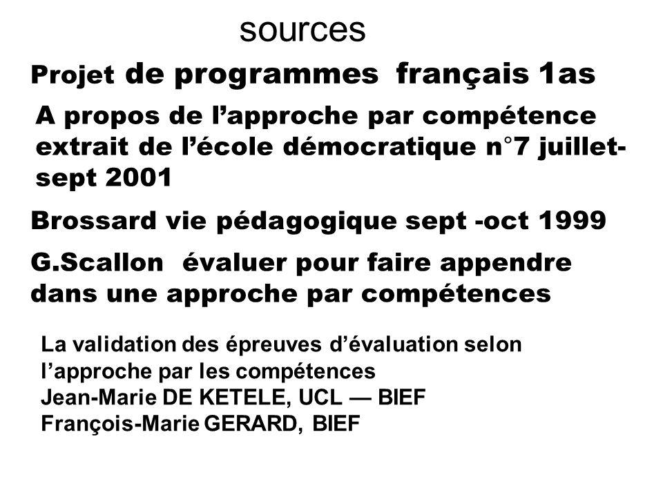 sources Projet de programmes français 1as A propos de lapproche par compétence extrait de lécole démocratique n°7 juillet- sept 2001 G.Scallon évaluer