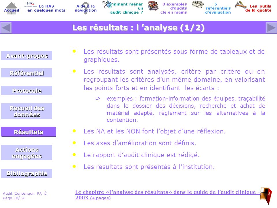Audit Contention PA Page 10/14 © Accueil Comment mener un audit clinique .