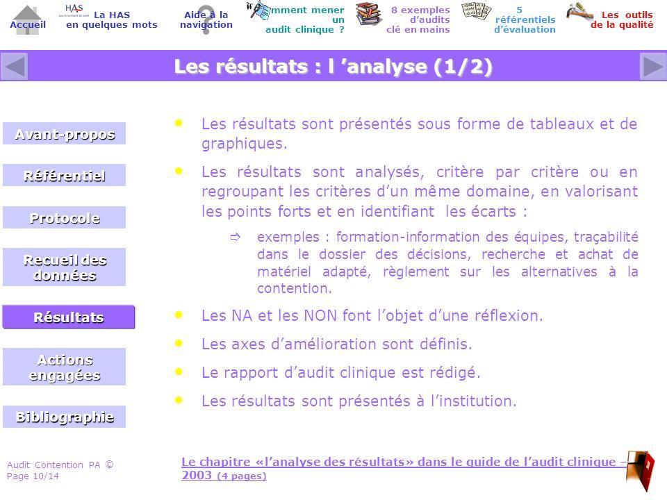 Audit Contention PA Page 10/14 © Accueil Comment mener un audit clinique ? Les outils de la qualité 8 exemples daudits clé en mains Aide à la navigati