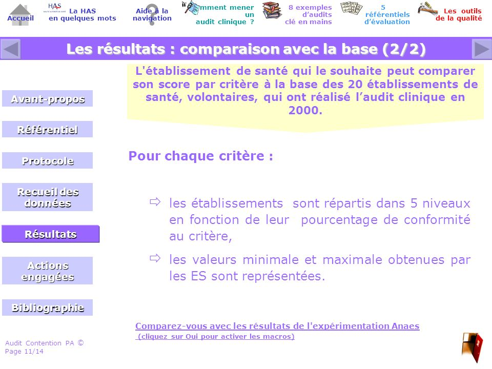 Audit Contention PA Page 11/14 © Accueil Comment mener un audit clinique .