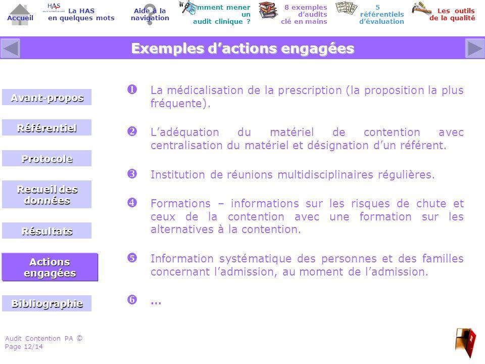 Audit Contention PA Page 12/14 © Accueil Comment mener un audit clinique .