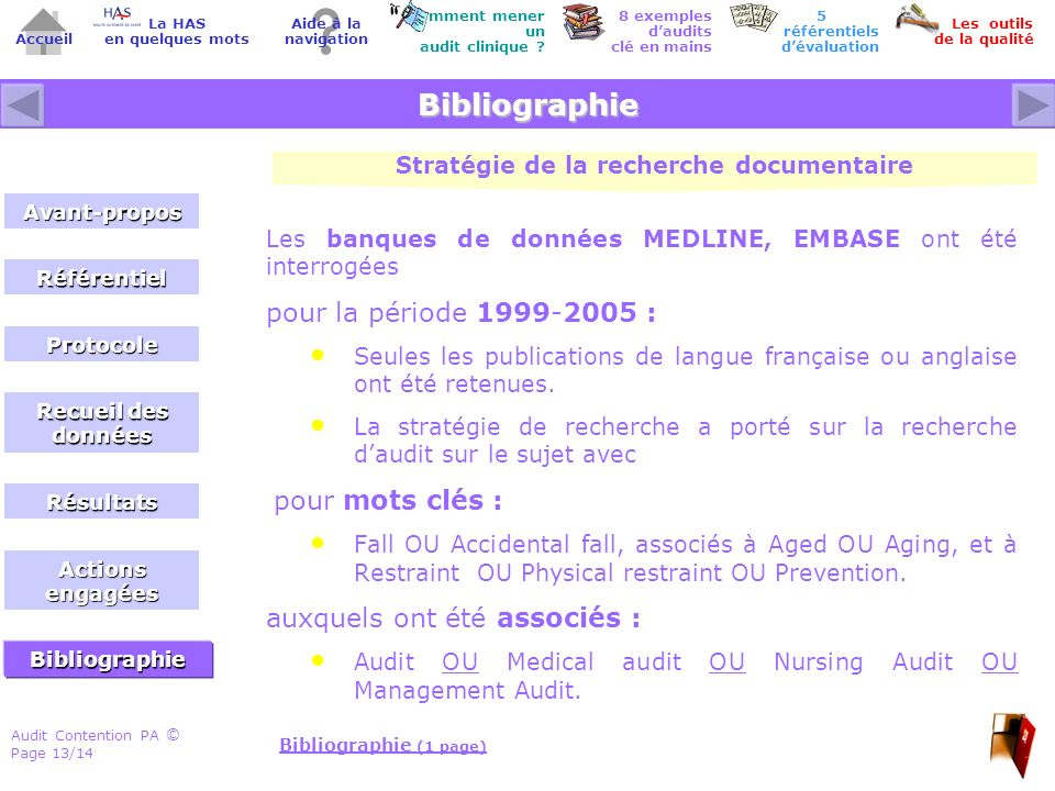 Audit Contention PA Page 13/14 © Accueil Comment mener un audit clinique .