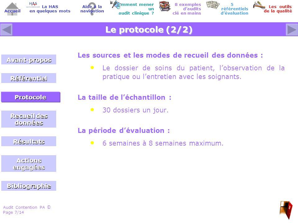 Audit Contention PA Page 7/14 © Accueil Comment mener un audit clinique .